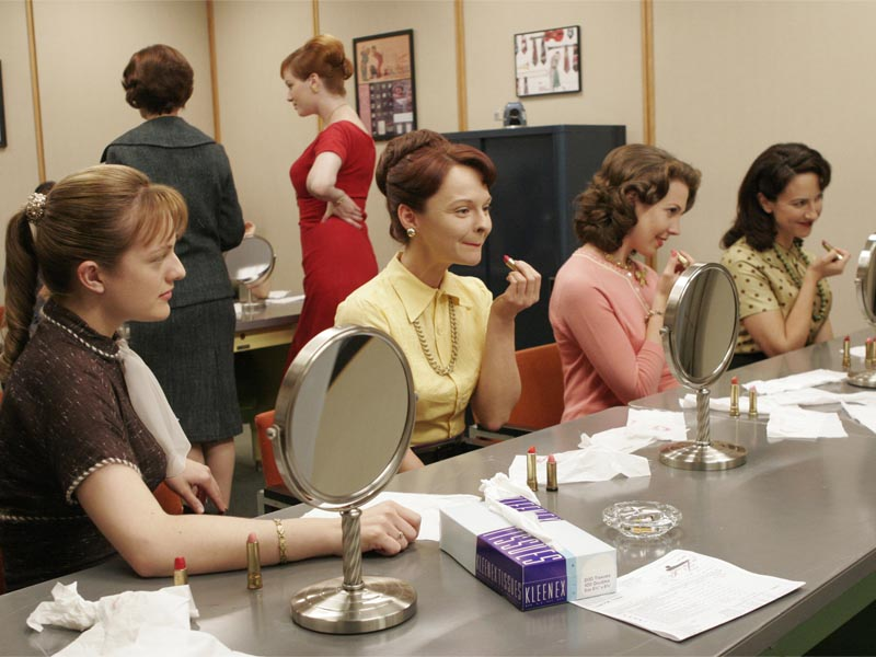 Peggy Olson (Elisabeth Moss), Dr. Geta Gutman (Gordana Rashovich) and Joan Holloway (Christina Hendricks) - Mad Men - Season 1, Episode 6 - Photo Credit: Carin Baer/AMC
