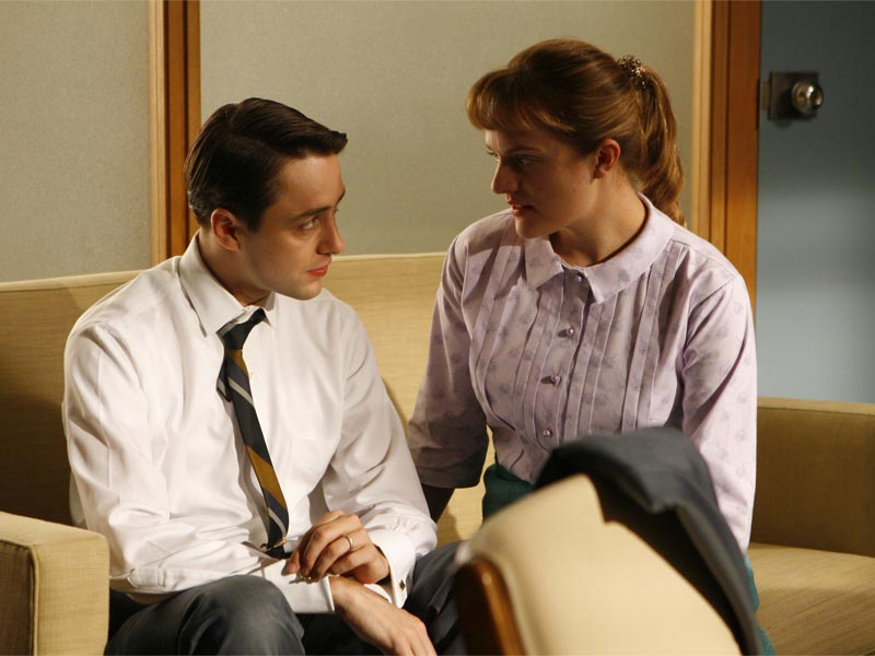 Pete Campbell (Vincent Kartheiser) and Peggy Olson (Elisabeth Moss) - Mad Men - Season 1, Episode 8 - Photo Credit: Carin Baer/AMC