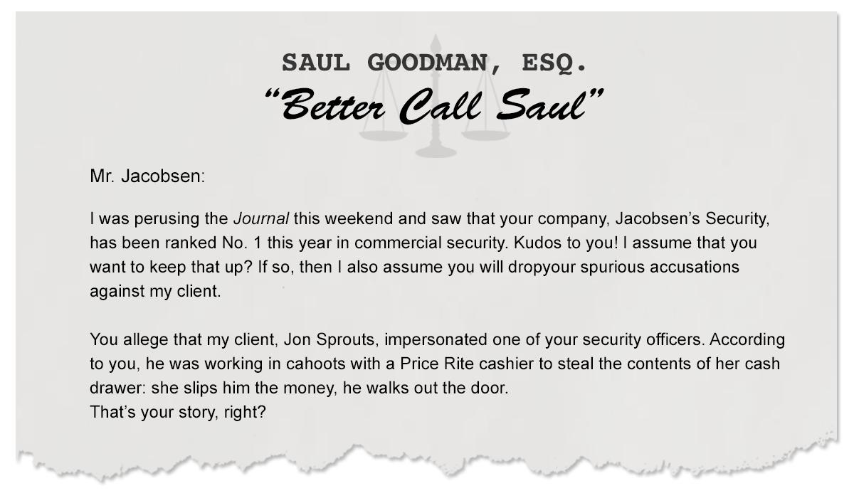 Letters From Saul: Jacobsen's Security vs. America