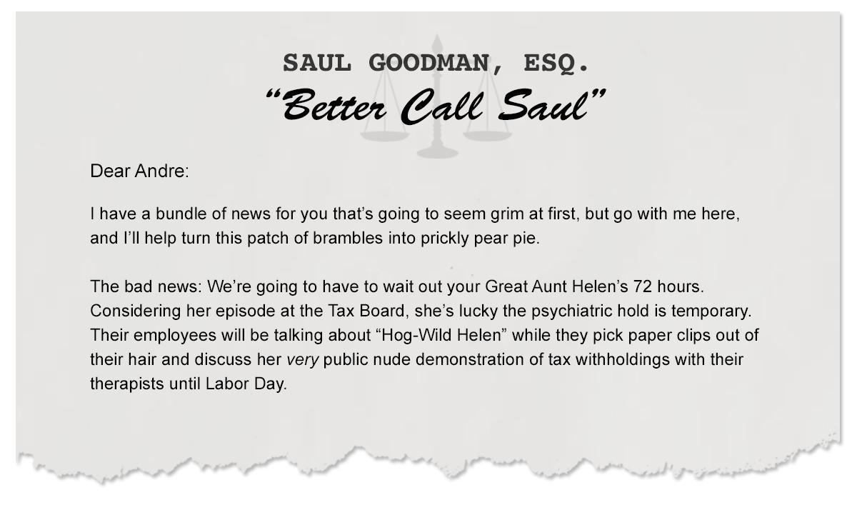 Letters From Saul: Hog-Wild Helen vs. The Tax Board