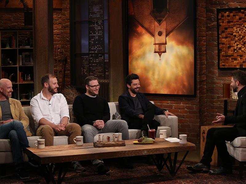 Sam Catlin, Seth Rogen, Evan Goldberg, Dominic Cooper - Talking Preacher - Season 1, Episode 1 - Photo Credit: Jordin Althaus/AMC
