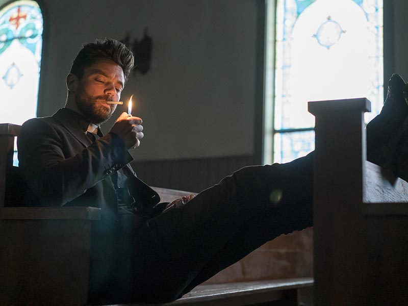 Dominic Cooper as Jesse Custer - Preacher _ Season 1, Pilot - Photo Credit: Lewis Jacobs/Sony Pictures Television/AMC