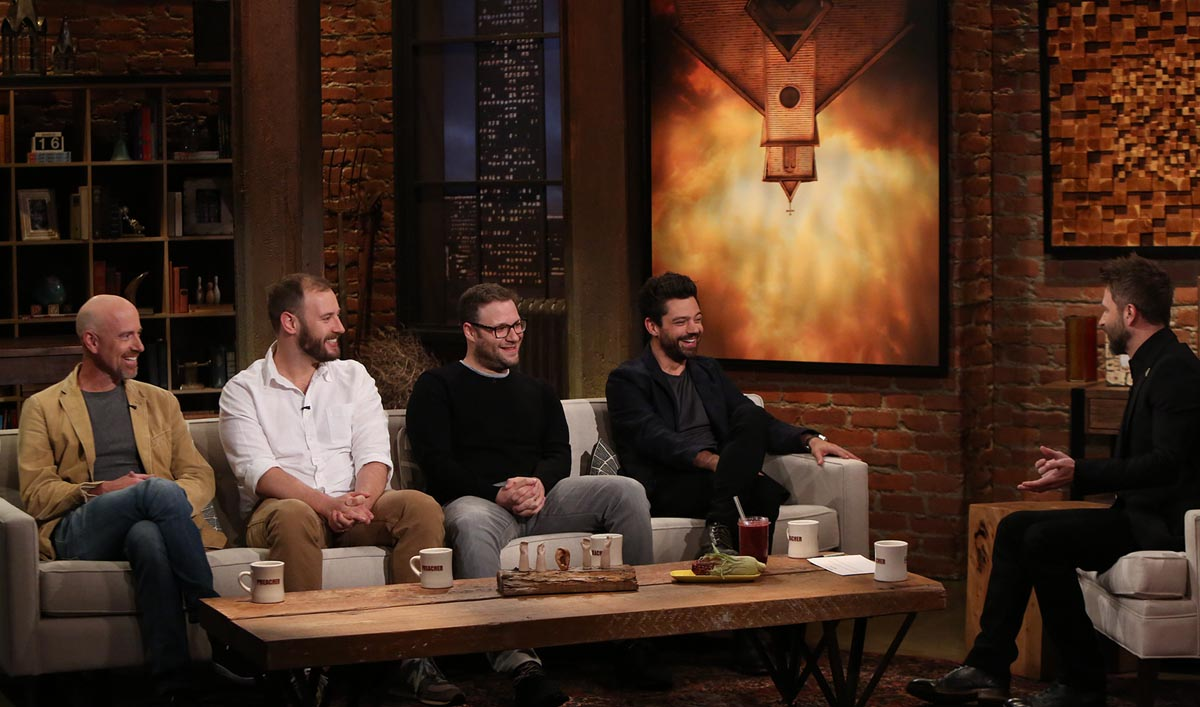 Sam Catlin, Seth Rogen, Evan Goldberg, Dominic Cooper - Talking Preacher - Season 1, Episode 1 - Photo Credit: Jordin Althaus/AMC