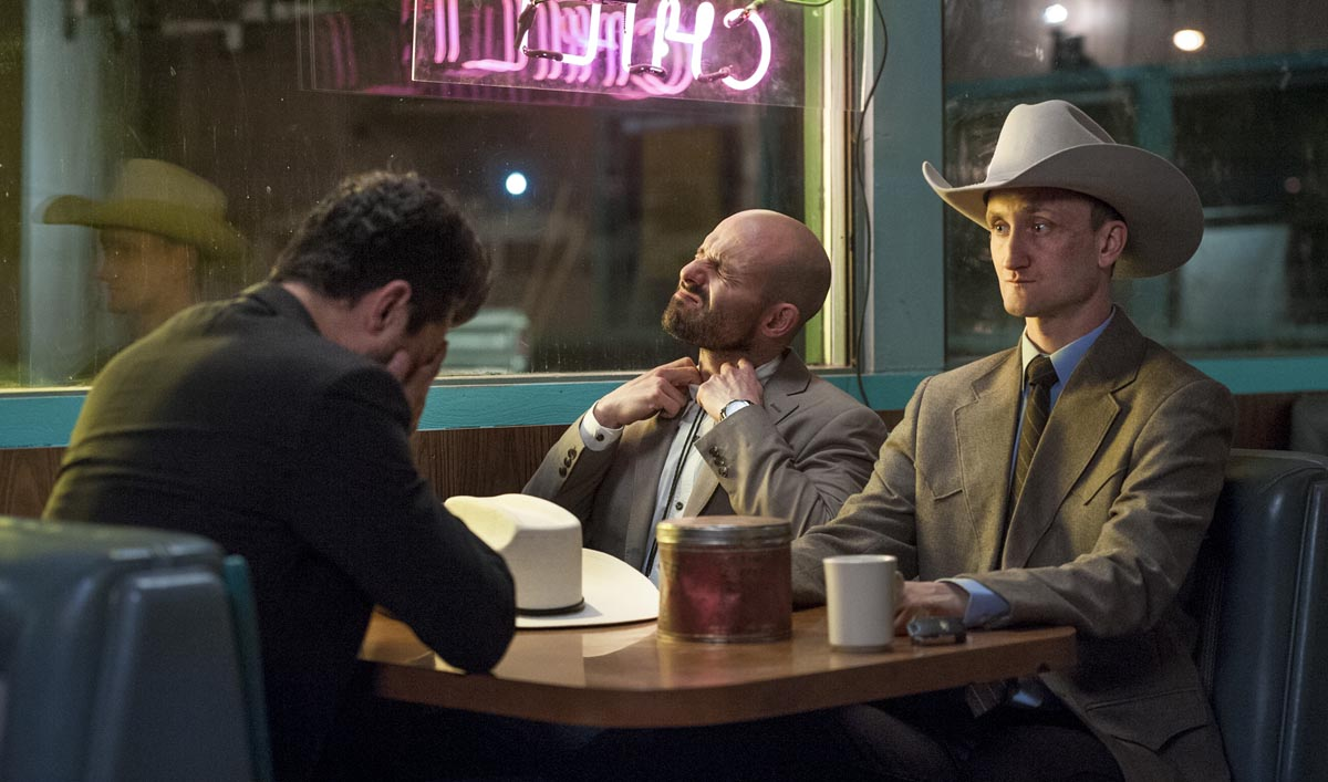 Dominic Cooper as Jesse Custer, Tom Brooke as Fiore, Anatol Yusef as DeBlanc - Preacher _ Season 1, Episode 5 - Photo Credit: Lewis Jacobs/Sony Pictures Television/AMC