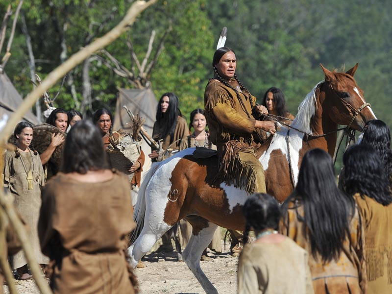 Mo Brings Plenty as Sitting Bull - The West _ Season 1 - Photo Credit: Lawrence French/Getty Images For AMC