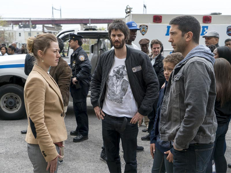 Jim Sturgess as Dion Patras, David Schwimmer as Tommy Moran, Elijah Jacob as TJ Moran, Ella Rae as Anna - Feed The Beast _ Season 1, Episode 9 - Photo Credit: Ali Paige Goldstein/Lionsgate Television/AMC