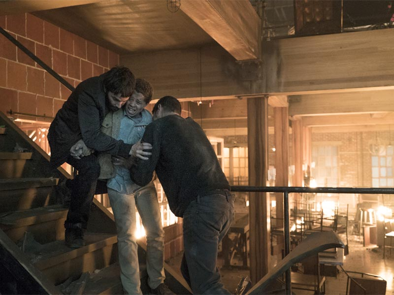 David Schwimmer as Tommy Moran, Elijah Jacob as TJ Moran, Jim Sturgess as Dion Patras - Feed The Beast _ Season 1, Episode 10 - Photo Credit: Ali Paige Goldstein/Lionsgate Television/AMC