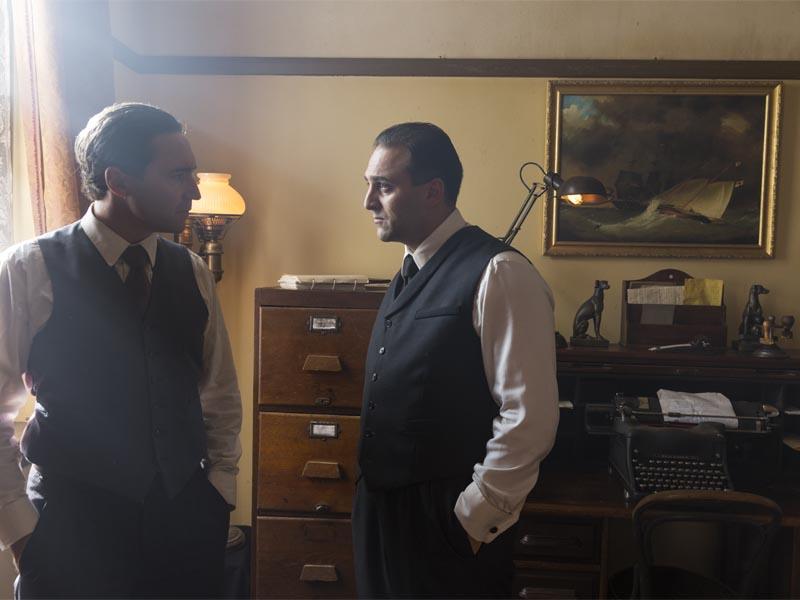Paolo Rotondo as Johnny Torrio, Michael Kotsohilis as Al Capone - Making of the Mob: Chicago _ Season 2, Episode 2 -- Photo Credit: Richard Brimer/AMC