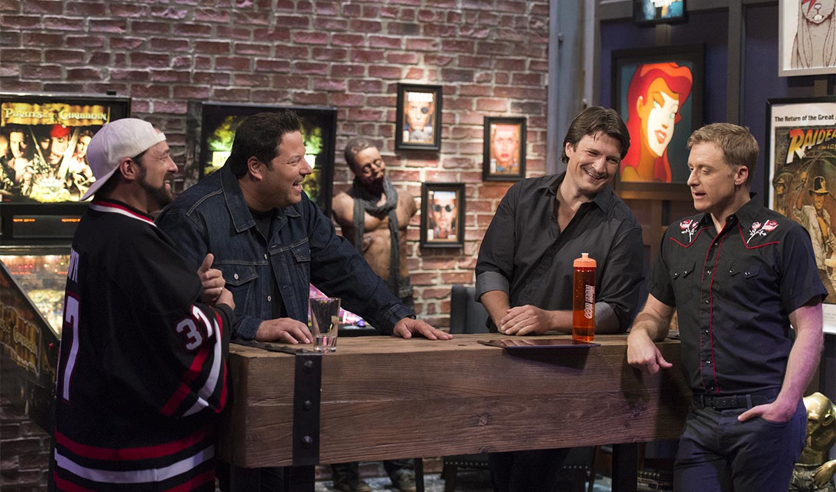 Kevin Smith, Greg Grunberg, Nathan Fillion, Alan Tudyk; group - Geeking Out _ Season 1, Episode 2 - Photo Credit: Michael Moriatis/AMC