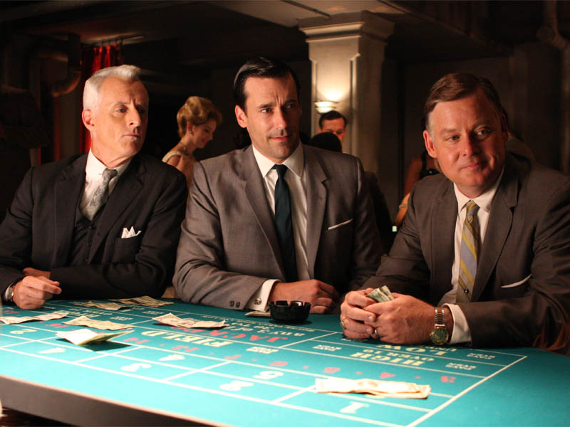 Roger Sterling (John Slattery), Don Draper (Jon Hamm) and Freddie Rumsen (Joel Murray) - Mad Men - Season 2, Episode 9 - Photo Credit: Carin Baer/AMC