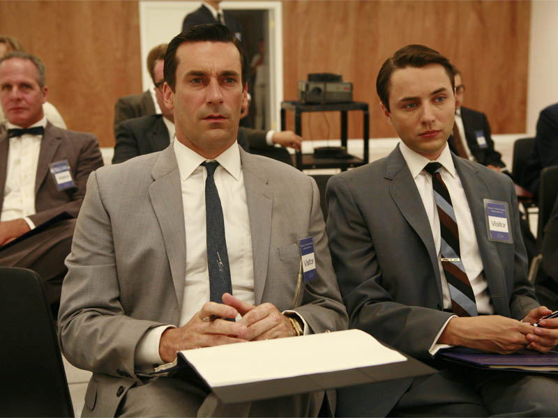 Don Draper (Jon Hamm) and Pete Campbell (Vincent Kartheiser) - MMad Men - Season 2, Episode 11 - Photo Credit: Carin Baer/AMC