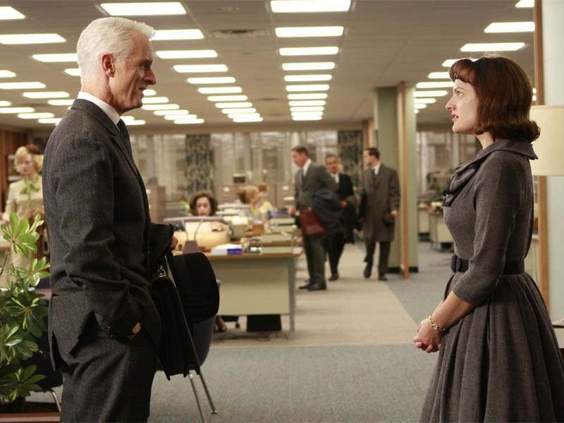 Roger Sterling (John Slattery) and Peggy Olson (Elisabeth Moss) - Mad Men - Season 2, Episode 12 - Photo Credit: Carin Baer/AMC