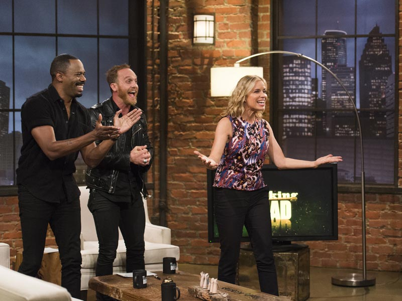Ethan Embry, Kim Dickens as Madison Clark, Colman Domingo as Victor Strand; group- Talking Dead Fear Edition - Photo Credit: Michael Moriatis/AMC