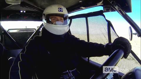 The guys race against Melissa in high-performance off-road vehicles through the Nevada desert.