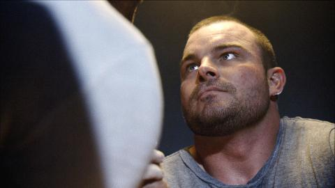 Travis Bagent of Erie's Wrecking Crew pumps himself up in between rounds of his matchup.