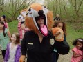 Christa leads a children's safety walk organized by JJK Security.