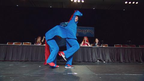 The Comic Book Men show off their costumes at BronyCon.