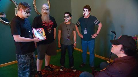 The Comic Book Men get the opportunity to meet Gene Simmons backstage at a KISS concert.