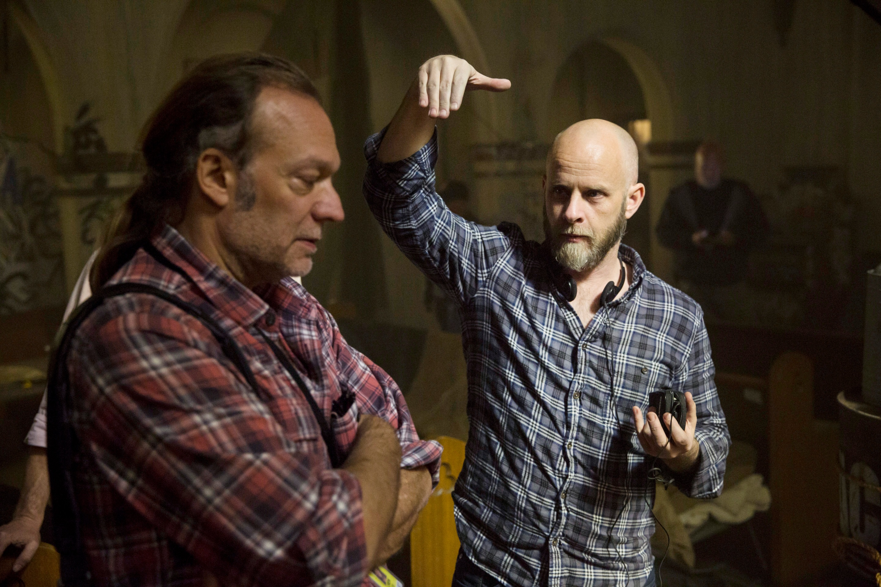 Executive Producer Greg Nicotero and Director Dave Erickson - Fear the Walking Dead _ Season 1, Episode 1 _ BTS - Photo Credit: Justin Lubin/AMC
