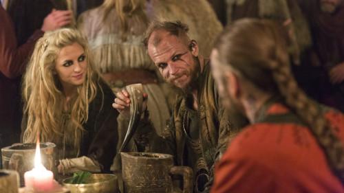 Helga__Maude_Hirst__and_Floki__Gustaf_Skarsg_rd__meet_King_Harald_Finehair_