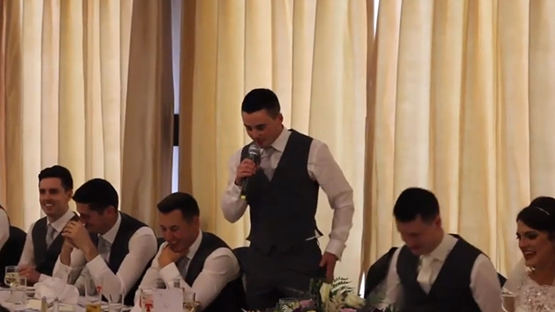 The best man pats his pockets looking for his speech. (YouTube)