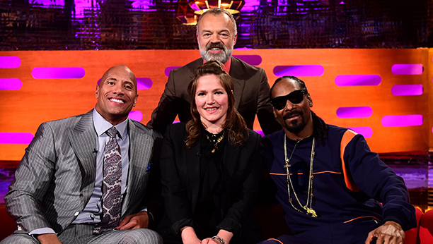 Host Graham Norton (rear) with (front, left - right) Dwayne Johnson, Jessica Hynes and Snoop Dogg during filming of the Graham Norton Show at the London Studios, south London, to be aired on Friday.