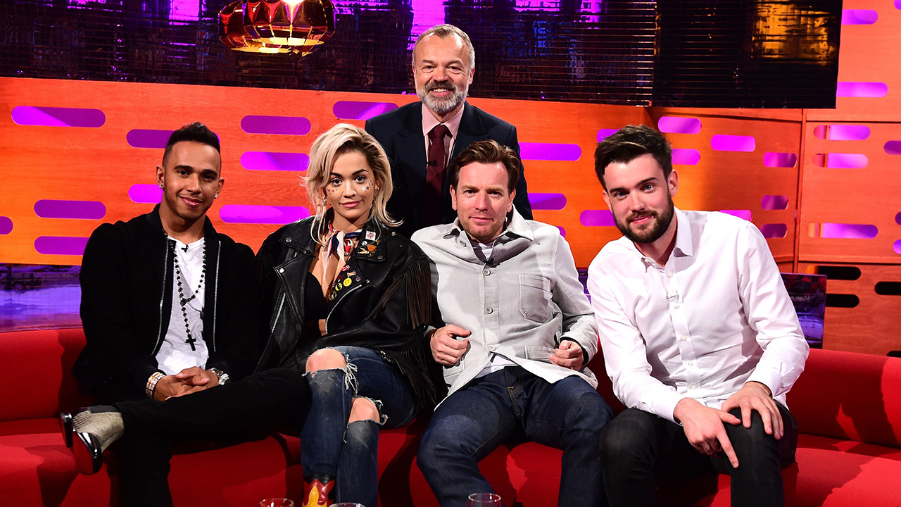 Graham Norton is joined by guests (left to right) Lewis Hamilton, Rita Ora, Ewan McGregor and Jack Whitehall. (BBCA)