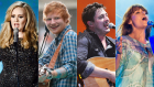 From left to right: Adele, Ed Sheeran, Marcus Mumford, Florence Welch. (Photos: Getty Images)