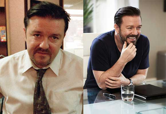 Gosh, where to start with Ricky Gervais. First off, I think it's safe to say that the British funnyman is one of the few celebrities in Hollywood who's made a handful of controversial remarks over the years, while maintaining a spot at the top. He has a vast collection of BAFTAs, British Comedy Awards, Golden Globes, and Emmys and long list of hit shows to prove it. With his longtime collaborator Stephen Merchant, he's given us Extras. They'll surely get us laughing out loud when their new show, Life's Too Short (see photo), debuts on HBO next year. Oh and thanks to HBO, we get to enjoy an animated version of their massively popular podcast with Karl Pilkington, The Ricky Gervais Show, all over again. Gervais has graced the Dunder Mifflin office on this side of the Atlantic several times (as David Brent, of course), as well as The Simpsons and Curb Your Enthusiasm. His smiley mug has gone on to appear in numerous movies like Ghost Town, The Invention of Lying, and  Night at the Museum and its sequel. Lastly, his four stand-up comedy tours have had left countless fans around the globe in absolute tears. He did just the same when he hosted the Academy Awards in 2010 and 2011. Bless him for that.
