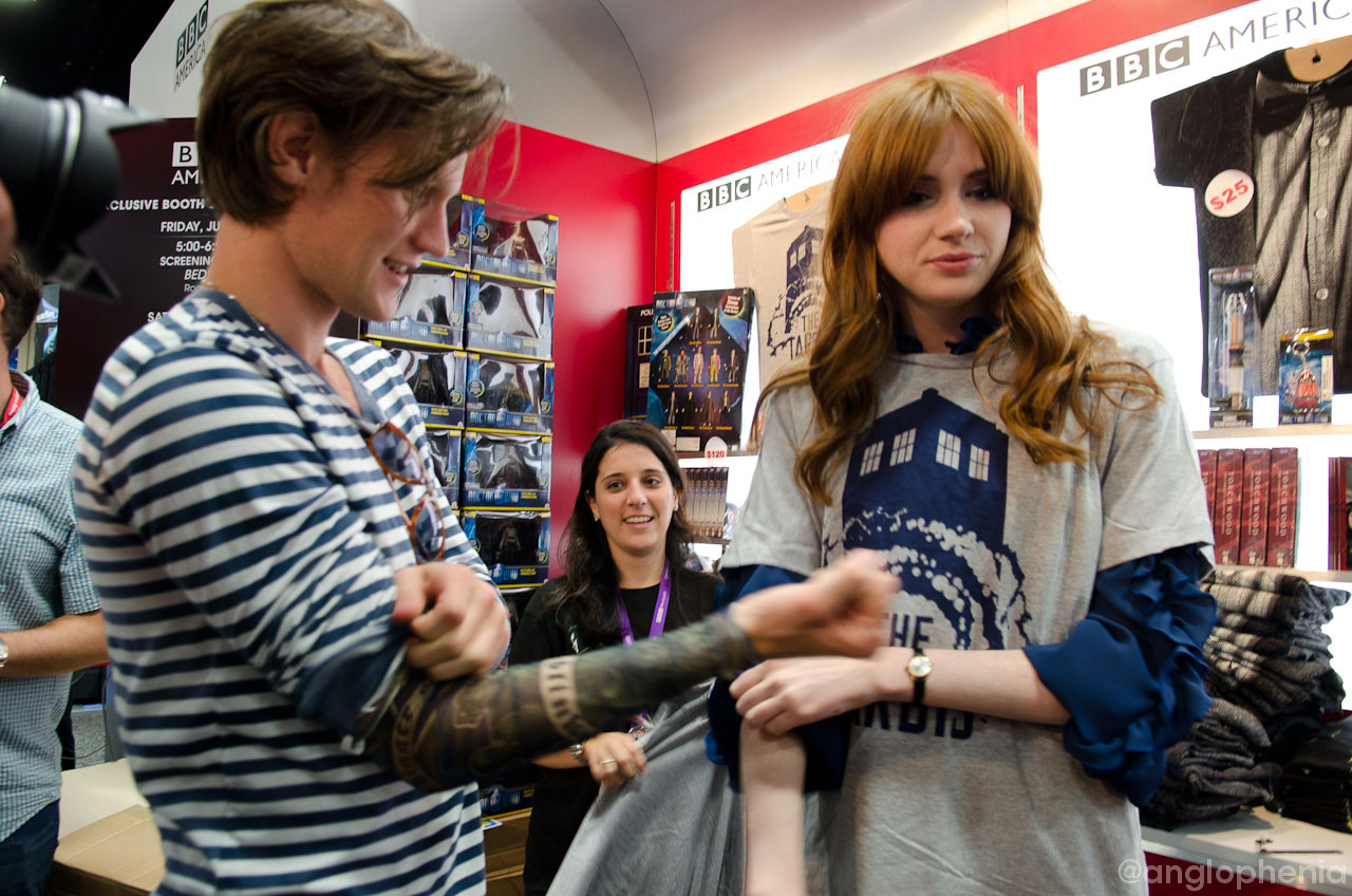 Matt Smith and Karen Gillan storm the BBCA booth, show off their tats