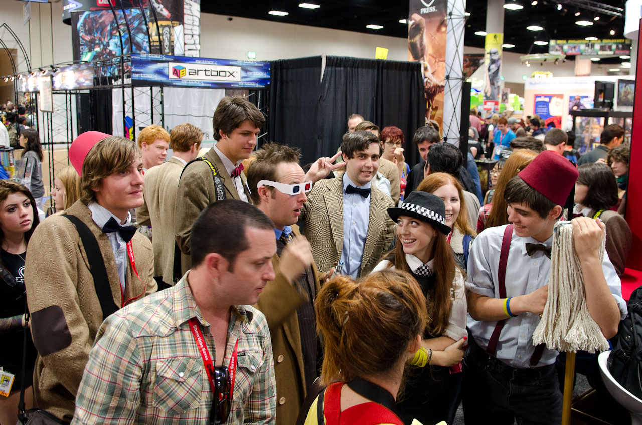 Dozens of costumed fans turned up to the BBC America booth at Comic-Con to compete in the Doctor Who lookalike contest.
