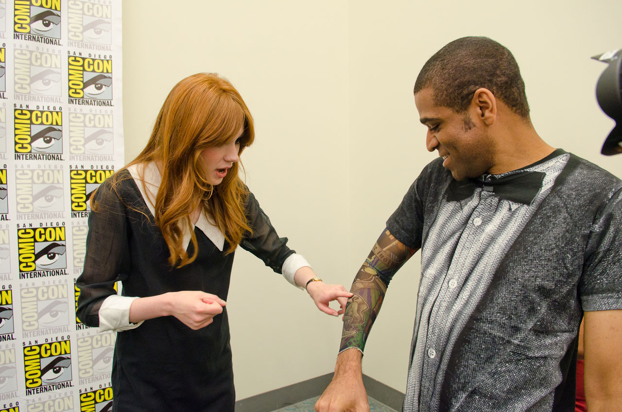 Karen Gillan checks out my 'Doctor Who' tattoo. Photo by Dave Gustav Anderson.