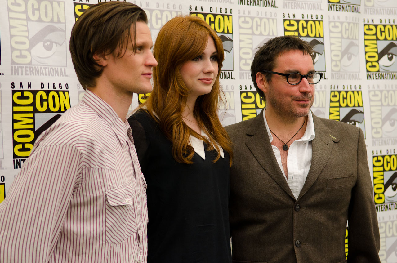 Matt Smith, Karen Gillan, and writer Toby Whithouse chatted with journalists and posed for photos at Comic-Con Sunday (July 24). Photo by Dave Gustav Anderson.