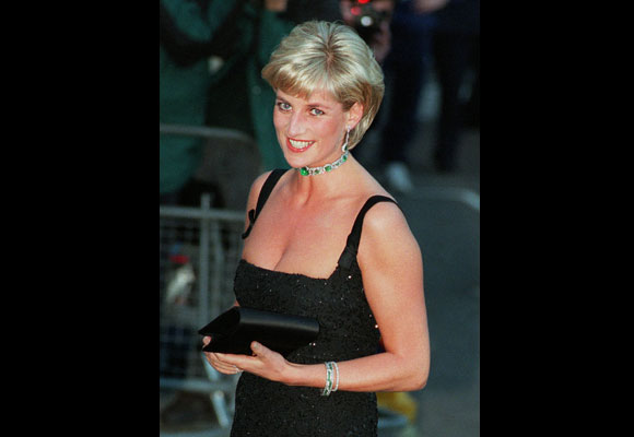 In one of her best-known shots, Princess Diana wore a black dress to the Centenary Gala for the Tate Gallery in London. (AP Photo/Jacqueline Arzt)