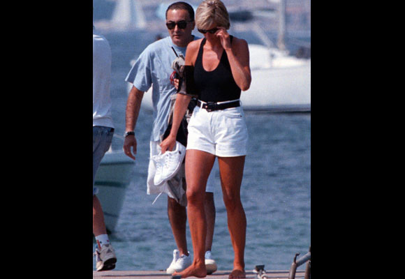 The relationship between Diana and Dodi Fayed, a film producer and businessman, was brief but intimate, as shown by the Princess's love letters to Dodi, which were released in 2007. The above photo was taken on a pontoon in the French Riviera, nine days before that fateful night in Paris. (AP Photo/Patrick Bar-Nice Matin, File)