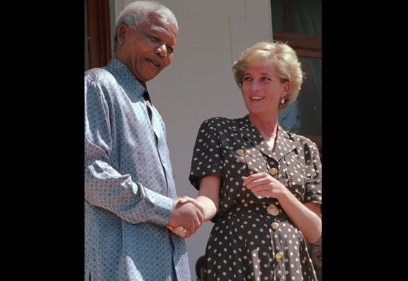 Diana met only once with the former South African president, but the Princess clearly made an impression on him. In 2002, Mandela made a visit to Diana's grave, shortly before announcing  that his foundation would work with Diana's memorial fund to support South Africa's AIDS victims. (AP PHOTO/Sasa Kralj)