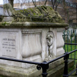 It is fitting that the grave of the Pilgrim's Progress author (who died in 1688) features a carved representation of a pilgrim on its side. Bunyan is interred in London's Bunhill Fields Cemetery, which was designated in the 1660s as a burial ground for Non-Comformist figures (such as Daniel Defoe and Quaker George Fox).  (Press Association via AP Images)