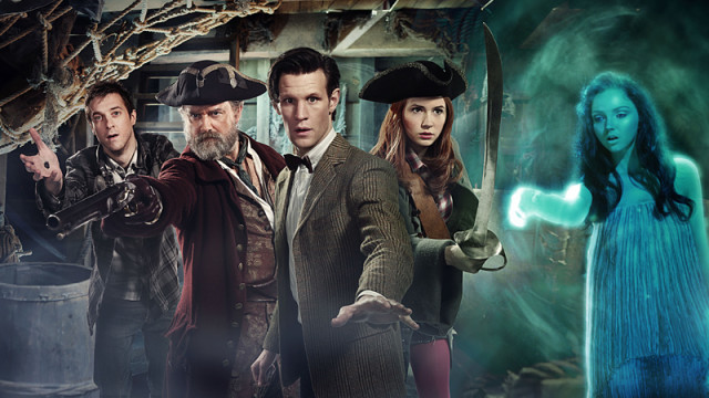 The Doctor, Amy and Rory aboard the pirate ship