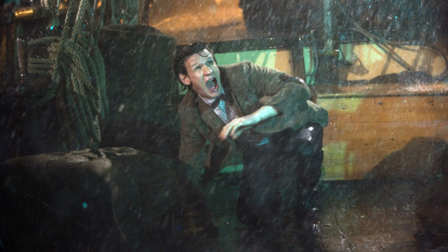 The Doctor gets drenched on the pirate ship