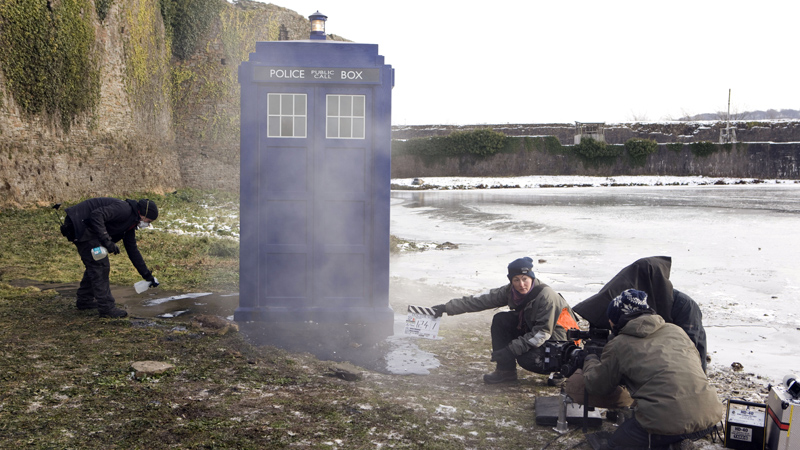 The TARDIS on set