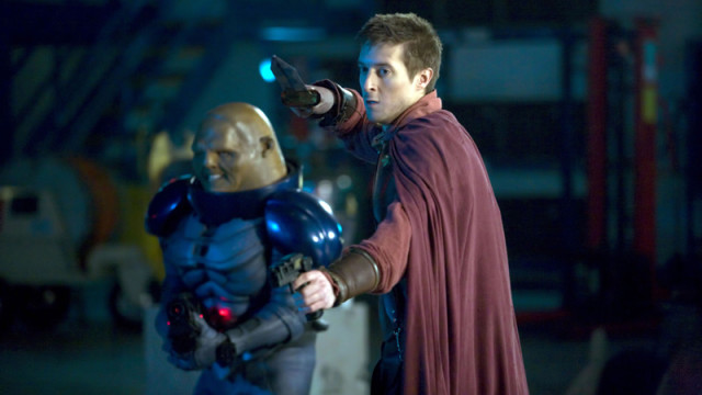 Rory and Commander Strax fight side-by-side
