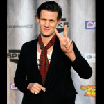 """Smith giving his signature """"peace sign."""" More on Matt Smith here. (AP Photo/Chris Pizzello)"""