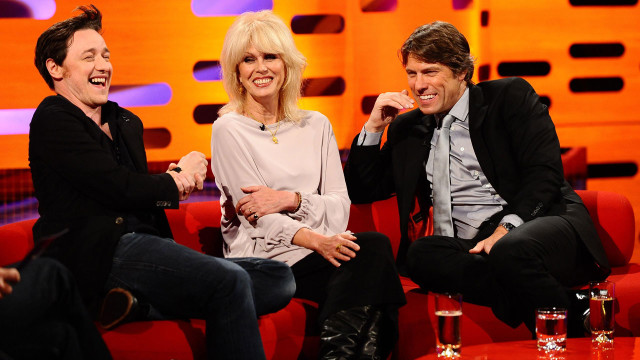"L-R: ""X-Men: First Class"" star James McAvoy, ""Absolutely Fabulous"" actress Joanna Lumley and comedian John Bishop."