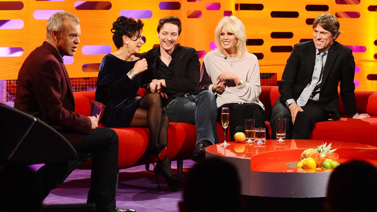L-R: Graham Norton, Nancy Dell'Olio, James McAvoy, Joanna Lumley and John Bishop.