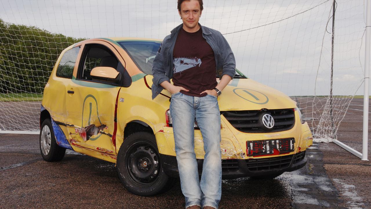 Richard's Volkswagon Fox gets damaged in car soccer.