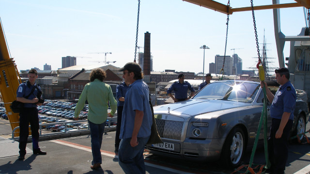 The Rolls-Royce Phantom Drophead gets ready to disembark