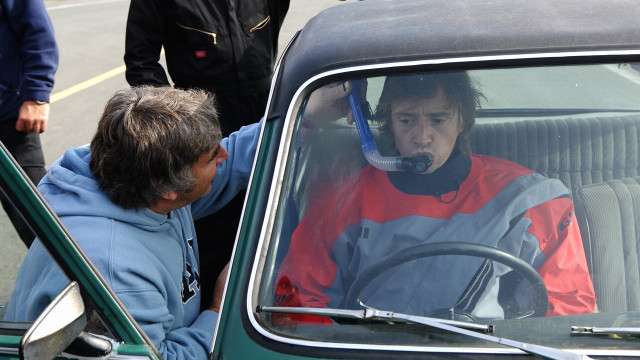 Richard uses a snorkel to breathe in his Triumph Dolomite Sprint