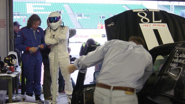 James and The Stig wait for the BMW 330d to come back to life