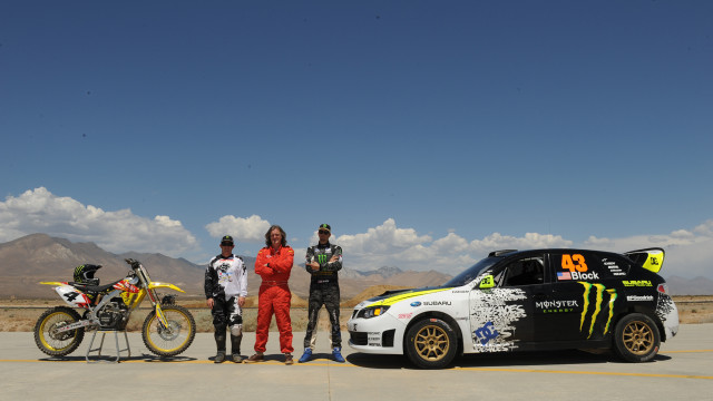 James and Ken Block race dirt biker Ricky Carmichael