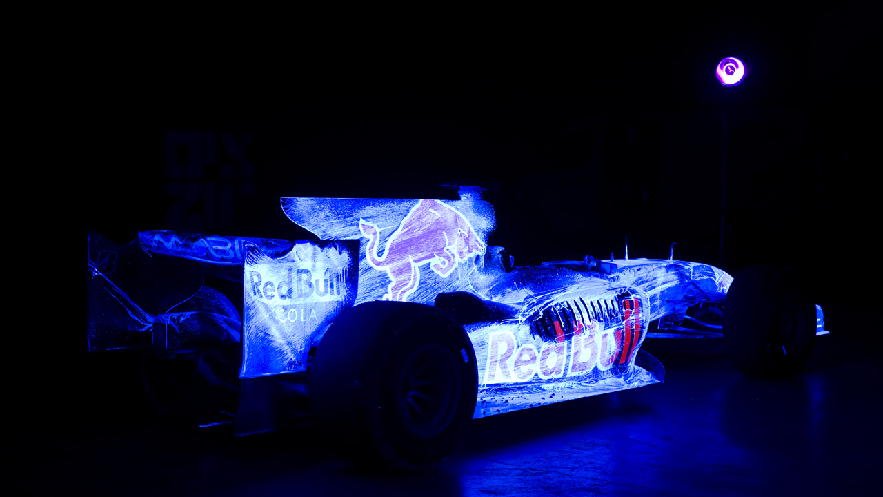 Jeremy's ultraviolet art is displayed